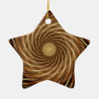 Brown-Schwarz-Spiralen-Wellen-Kaleidoskop-Kunst Keramik Stern-Ornament