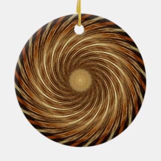 Brown-Schwarz-Spiralen-Wellen-Kaleidoskop-Kunst Rundes Keramik Ornament