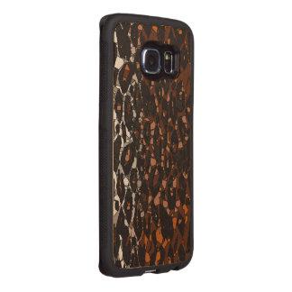 Brown Schwarz-weißer Cheetah abstrakt Handyhülle Aus Holz