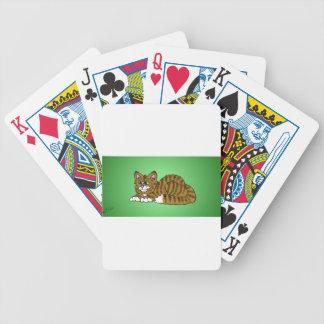 Brown Striped CartoonKitty mit grünem Hintergrund Poker Karten