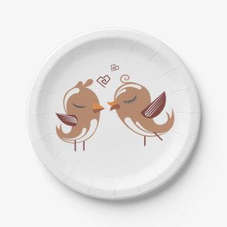 Brown u. weiße Lovebirds - Hochzeit, Brautparty Pappteller