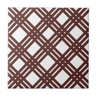 Brown und weißer Gingham Kleine Quadratische Fliese
