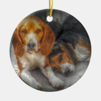 Bruder-Beagles Rundes Keramik Ornament