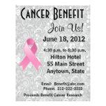 Brustkrebs-Bewusstseins-Nutzen-grauer BlumenFlyer Flyer