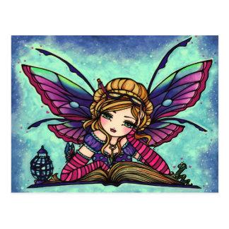Bücherwurm-feenhafte Fantasie-Kunst-Postkarte Postkarten