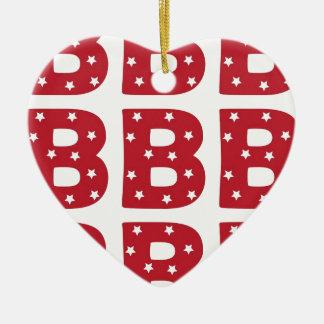 Buchstabe B - Weiß-Sterne auf dunkelrotem Keramik Herz-Ornament