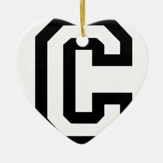 Buchstabe C Keramik Herz-Ornament