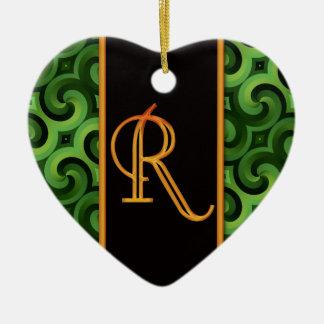 BUCHSTABE R Verzierung Keramik Herz-Ornament
