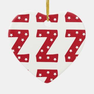 Buchstabe Z - Weiß-Sterne auf dunkelrotem Keramik Herz-Ornament