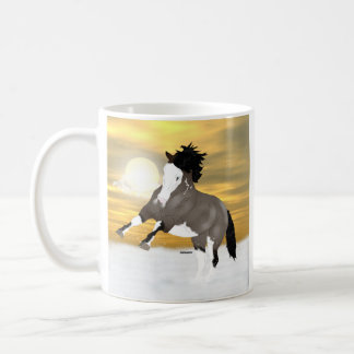 Bucht Roan Overo Pinto-Mustang-Pferd Tasse