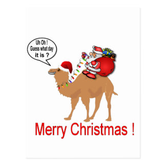 Buckel-Tageskamel-Weihnachten mit Sankt Postkarte