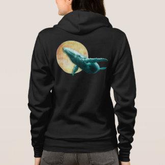 Buckel-Wal, der zum Mond-Sweatshirt fliegt Hoodie