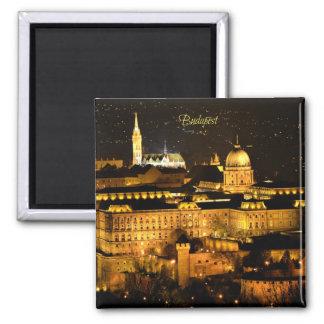 Budapest nachts quadratischer magnet