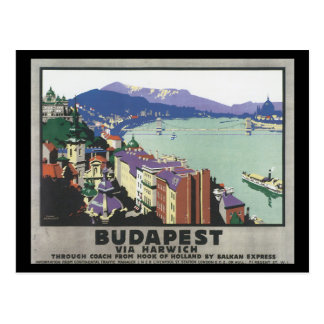 Budapest über Harwich_Vintage Reise-Plakat Postkarte