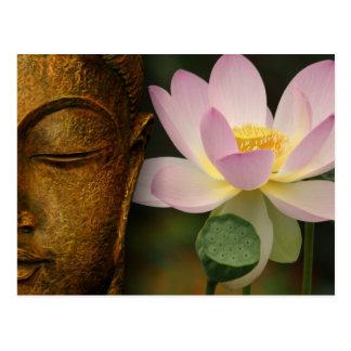 Buddha und Blume Postkarte