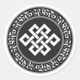 Buddhistischer endloser Knoten Runder Aufkleber