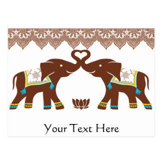 Bue Hennastrauch-Elefant-Liebe-Karte Postkarte