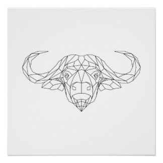 Büffel-geometrische schwarze u. weiße Hauptmoderne Poster