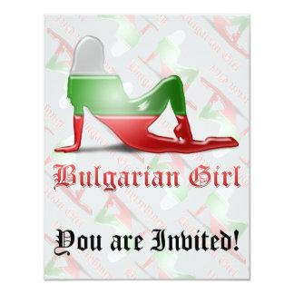 Bulgarische Mädchen-Silhouette-Flagge 10,8 X 14 Cm Einladungskarte