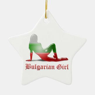Bulgarische Mädchen-Silhouette-Flagge Keramik Stern-Ornament