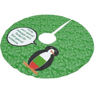 Bulgarischer Feiertags-Herr Penguin Polyester Weihnachtsbaumdecke