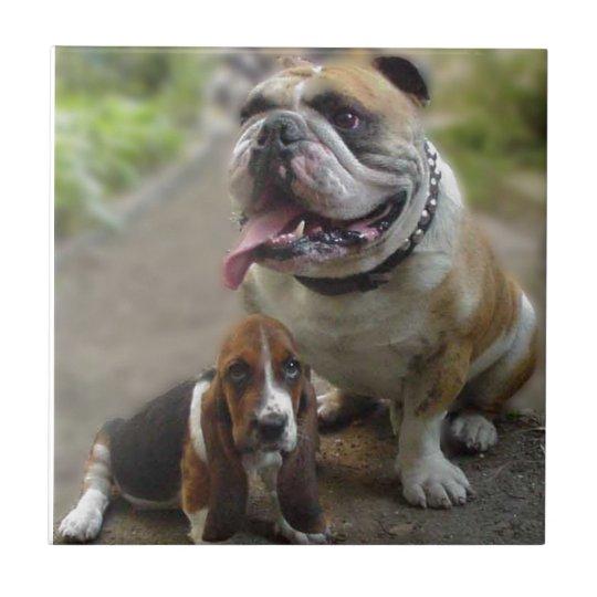 Bulldog & BabyBassett - Be aware of my best friend Keramikfliese