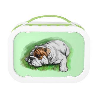 Bulldogge im Gras Brotdose