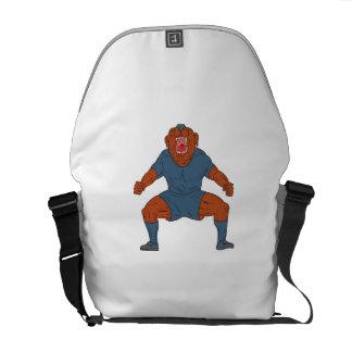 Bulldoggen-Fußballspieler, der Ziel-Cartoon feiert Kurier Taschen