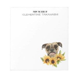 Bulldoggen-Mischung mit Sonnenblumen | addieren Notizblock