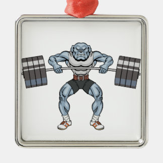 Bulldoggengewichtsheber Silbernes Ornament