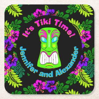 Bunt ist es Tiki Zeit Rechteckiger Pappuntersetzer