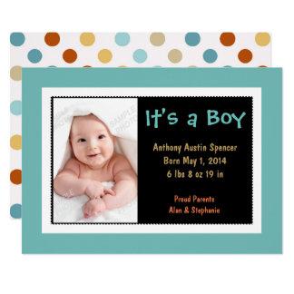 Bunte aquamarine Foto-Jungen-Geburts-Mitteilung 12,7 X 17,8 Cm Einladungskarte