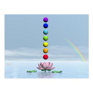 Bunte Bereiche für chakras nach schöner Lilie f Postkarte