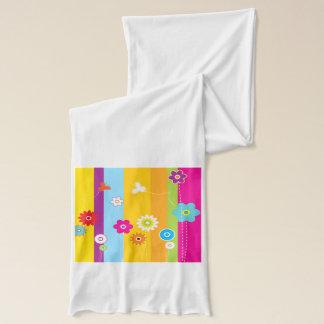 Bunte Blumen-Streifen u. Schmetterlinge Schal