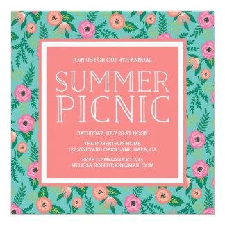 Bunte Blüten-Sommer-Picknick-Einladung Quadratische 13,3 Cm Einladungskarte