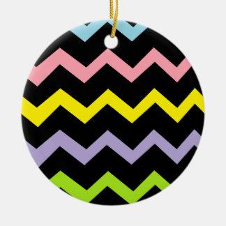 Bunte Dreieck-Wellen Rundes Keramik Ornament