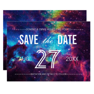 Bunte Galaxie Save the Date Karte