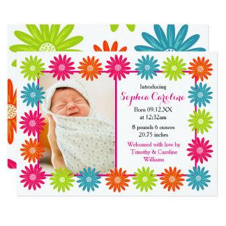 Bunte Gänseblümchen - Mitteilung der Geburts-3x5 Karte