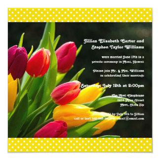 Bunte Hochzeits-Mitteilung des Tulpe-Foto--5x5 Quadratische 13,3 Cm Einladungskarte