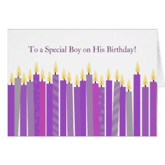 Bunte lila Kerzen Mädchen-Geburtstags-Karten- Grußkarte