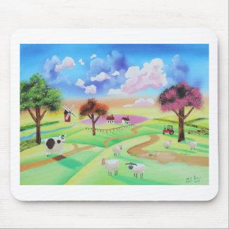 Bunte Malerei der Kuh und der Schafe Gordon Bruce Mauspads