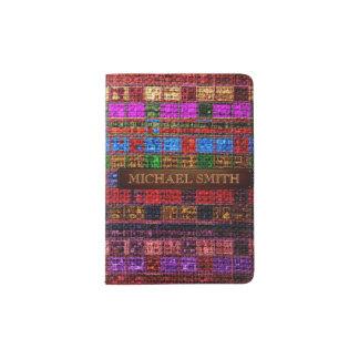 Bunte Mosaik-Leinwand-eleganter lederner Blick #10 Passhülle