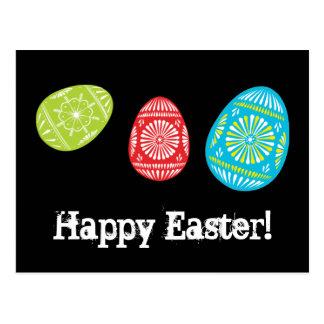 Bunte Ostereier fröhliche Ostern! Postkarte 2