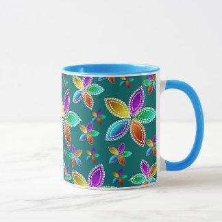 Bunte Perlen-Blumen-Wecker-Tasse Tasse