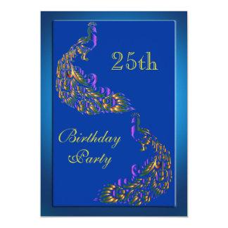 Bunte Regenbogen-Pfau-25. Geburtstag 12,7 X 17,8 Cm Einladungskarte