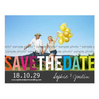 Bunte Regenbogen-Text-Save the Date Foto-Postkarte