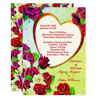 Bunte Rosen u. Herz-Rahmen-Hochzeit laden ein 12,7 X 17,8 Cm Einladungskarte