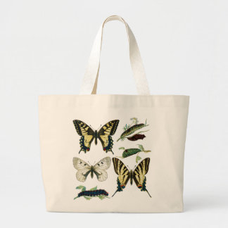 Bunte Schmetterlinge und Raupen Jumbo Stoffbeutel