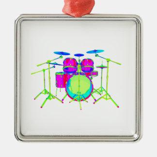 Bunte Trommel-Ausrüstung Quadratisches Silberfarbenes Ornament