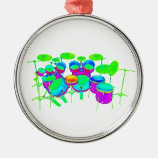 Bunte Trommel-Ausrüstung Rundes Silberfarbenes Ornament